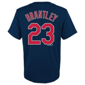 Boys 8-20 Majestic Cleveland Indians Michael Brantley Player Name and Number Tee