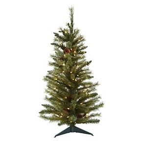 nearly natural 3 ft pre lit pine cone artificial christmas tree