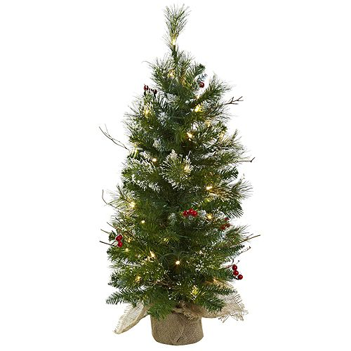 nearly natural 3 ft pre lit berries artificial christmas tree