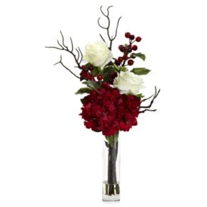 nearly natural Christmas Artificial Rose Hydrangea Flower Arrangement