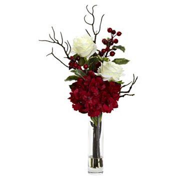 nearly natural Christmas Artificial Rose Hydrangea Flower Arrangement