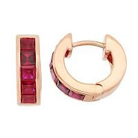 Lab-Created Ruby 14k Rose Gold Over Silver Huggie Hoop Earrings
