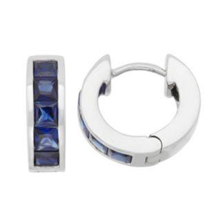Lab-Created Sapphire Sterling Silver Huggie Hoop Earrings