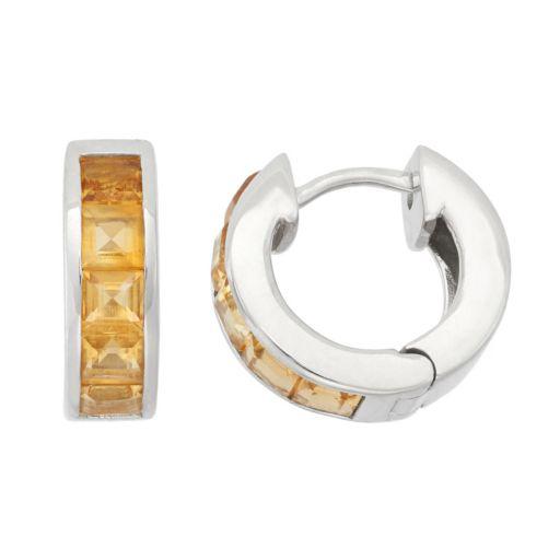 Citrine Sterling Silver Huggie Hoop Earrings