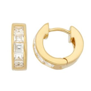 Lab-Created White Sapphire 14k Gold Over Silver Huggie Hoop Earrings