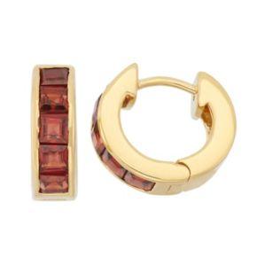 Garnet 14k Gold Over Silver Huggie Hoop Earrings