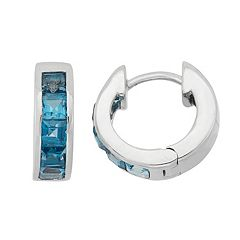 London Blue Topaz Sterling Silver Huggie Hoop Earrings