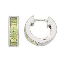 Peridot Sterling Silver Huggie Hoop Earrings