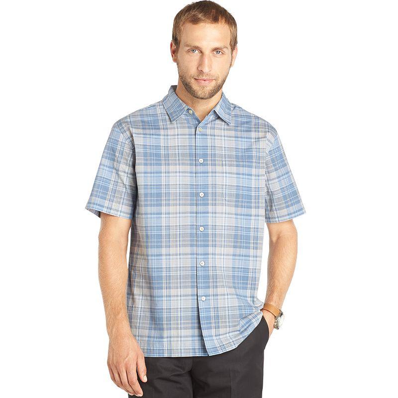 Van heusen plaid casual button down shirt big tall size for Van heusen plaid shirts