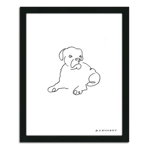 ''Boxer Line Drawing'' Framed Wall Art