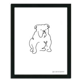 ''Bulldog Line Drawing'' Framed Wall Art