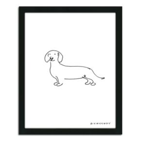 ''Dachshund Line Drawing'' Framed Wall Art