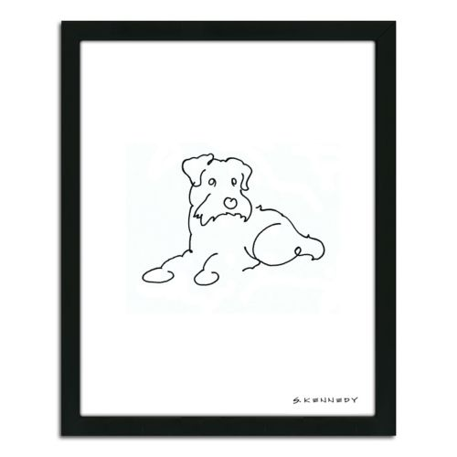 """Scottish Terrier Line Drawing"" Framed Wall Art"