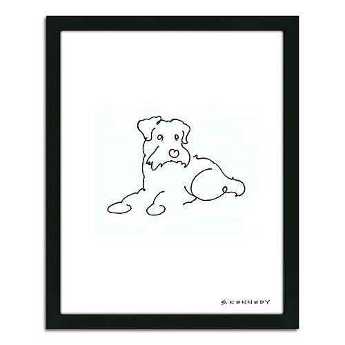 ''Scottish Terrier Line Drawing'' Framed Wall Art