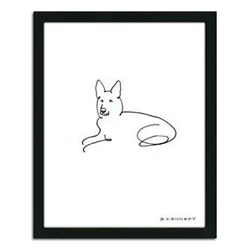 ''German Shepherd Line Drawing'' Framed Wall Art