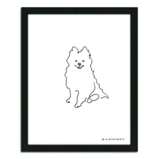 ''Pomeranian Line Drawing'' Framed Wall Art