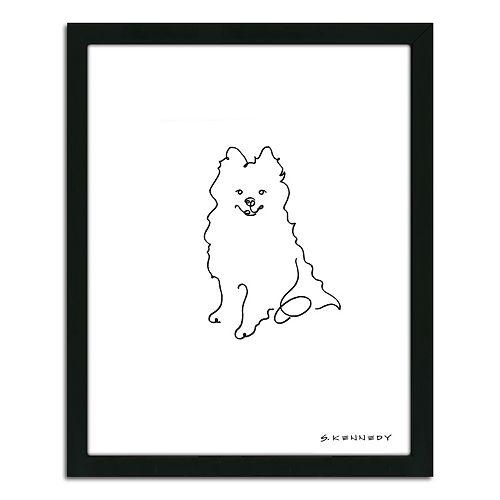 ''Pomeranian Line Drawing'' Framed Wall Art
