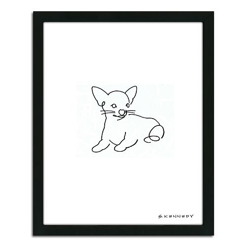 ''Chihuahua Line Drawing'' Framed Wall Art