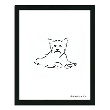 ''Yorkie Line Drawing'' Framed Wall Art
