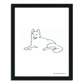''Husky Line Drawing'' Framed Wall Art