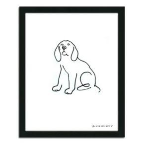 ''Beagle Line Drawing'' Framed Wall Art