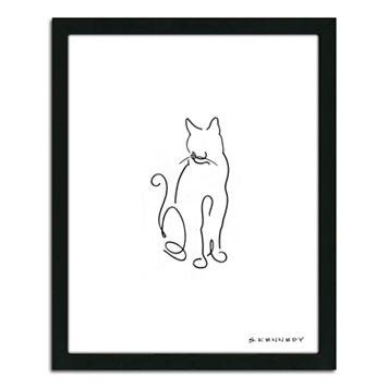 ''Cat Line Drawing'' Framed Wall Art
