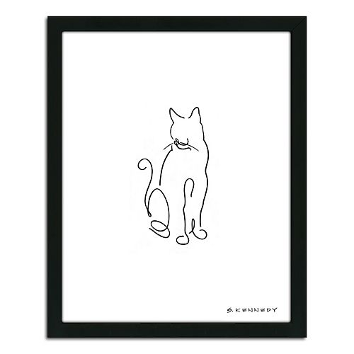 Cat Line Drawing Framed Wall Art