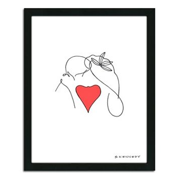 ''Kiss Line Drawing'' Framed Wall Art