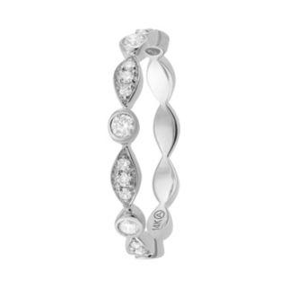 1/4 Carat T.W. Diamond 14k White Gold Scalloped Stack Ring