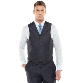 Men's Steve Harvey Modern-Fit Blue Shantung Vest