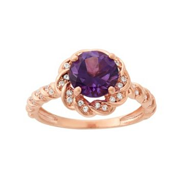 Amethyst & Lab-Created White Sapphire 14k Rose Gold Over Silver Halo Ring