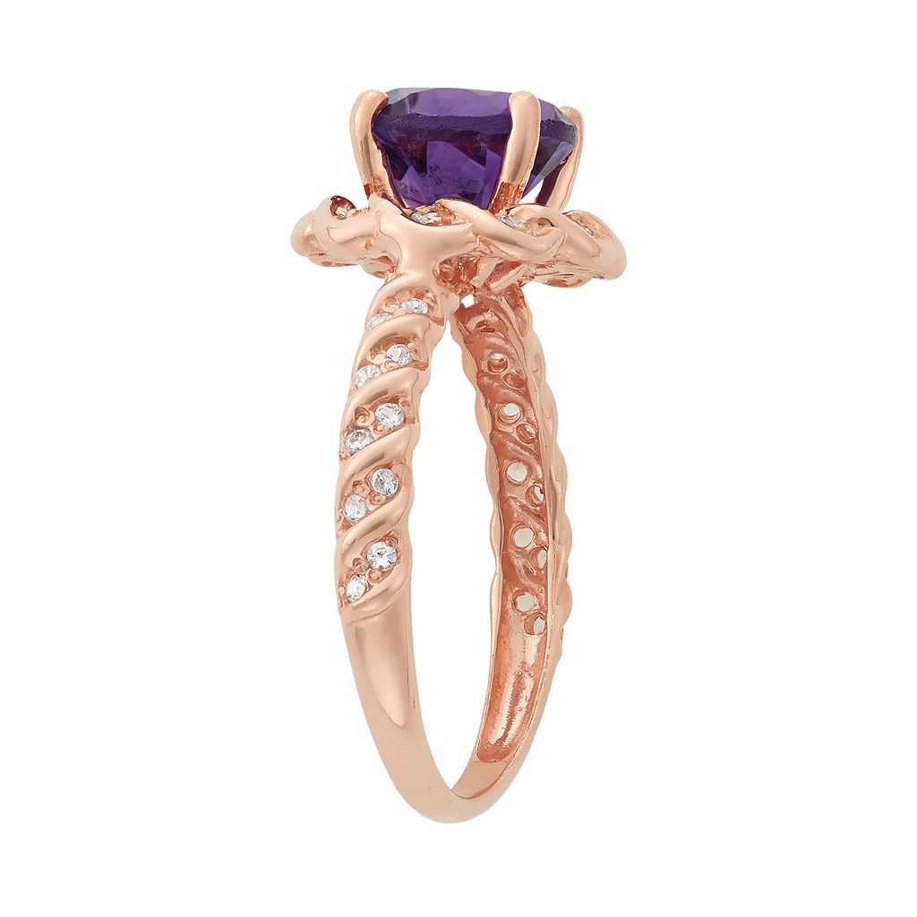 Amethyst and Lab-Created White Sapphire 14k Rose Gold Over Silver Halo Ring