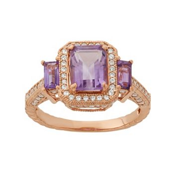 Amethyst & Lab-Created White Sapphire 14k Rose Gold Over Silver 3-Stone Tiered Halo Ring