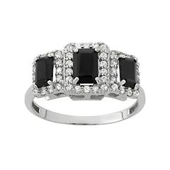 Onyx & Lab-Created White Sapphire Sterling Silver 3-Stone Halo Ring