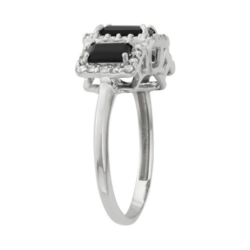 Onyx and Lab-Created White Sapphire Sterling Silver 3-Stone Halo Ring