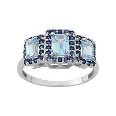 Aquamarine & Lab-Created Blue Sapphire Sterling Silver 3-Stone Halo Ring