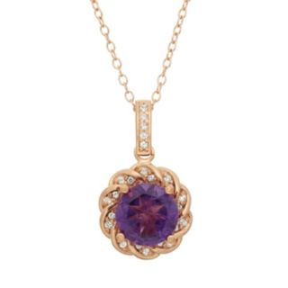 Amethyst and Lab-Created White Sapphire 10k Rose Gold Over Silver Halo Pendant Necklace