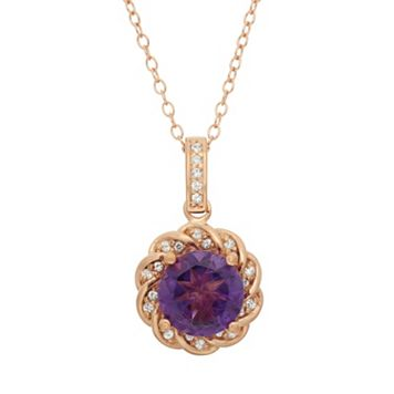 Amethyst & Lab-Created White Sapphire 10k Rose Gold Over Silver Halo Pendant Necklace