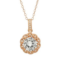 Lab-Created White Sapphire 14k Rose Gold Over Silver Halo Pendant Necklace