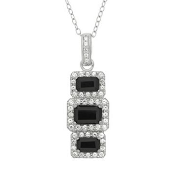 Onyx & Lab-Created White Sapphire Sterling Silver 3-Stone Halo Drop Pendant Necklace