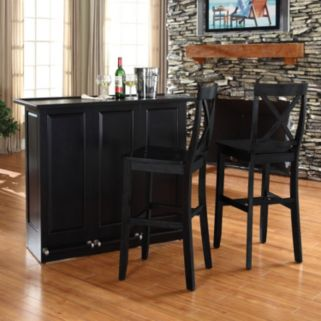 Crosley Furniture 3-piece Mobile Folding Bar and Stool Set