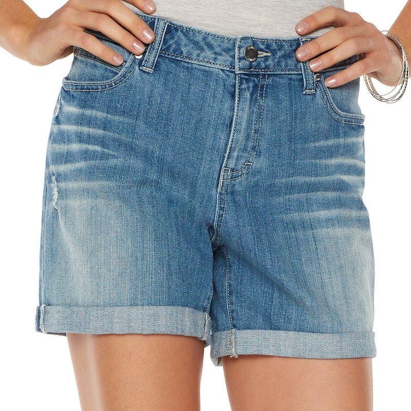 Jennifer Lopez Distressed Cuffed Jean Shorts - Women's