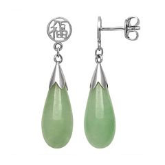 Jade Sterling Silver 'Luck' Teardrop Earrings