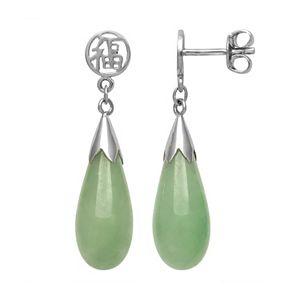 """Jade Sterling Silver """"Luck"""" Teardrop Earrings"""