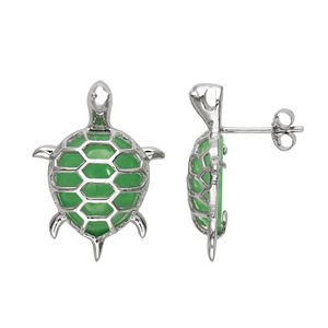 Jade Sterling Silver Turtle Stud Earrings