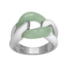 Jade Sterling Silver Interlock Ring