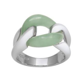Jade Sterling Silver Interlock Ring