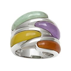 Multicolor Jade Sterling Silver Ring