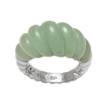 Jade Sterling Silver Twist Ring