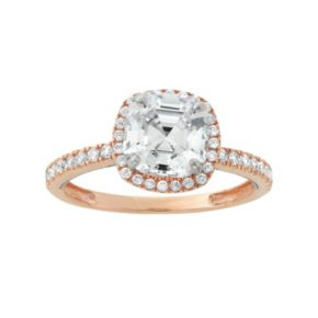 Cubic Zirconia 10k Gold Two Tone Tiered Halo Ring